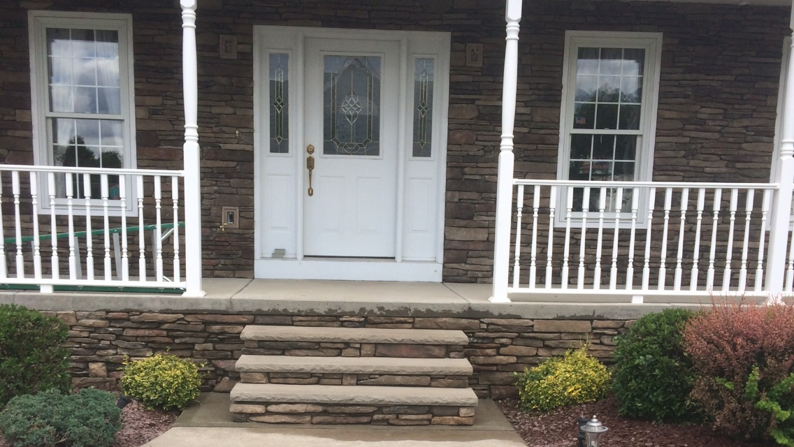 Cultured Stone Veneer Steps with limestone caps